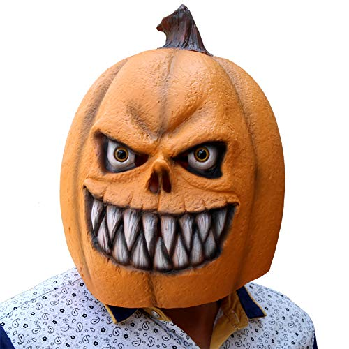 CreepyParty Deluxe Novelty Halloween Costume Party Props Latex Pumpkin Head Mask (Pumpkin New) Yellow