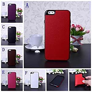 Litchi Texture Leather and Silicone Soft Back Case Cover for IPhone 6 Plus 5.5'' , C