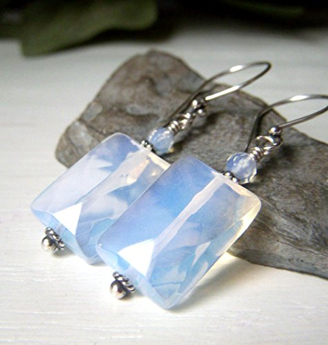 [Opalite Earrings - Sterling Silver Dangle - Blue Rectangle Faceted Opalescent Sea Glass] (Faceted Rectangle Shape)