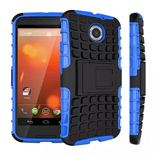 Mokingtop Fashion Armor Hybrid Pc+tpu Back Case Stand Cover for Motorola Moto X+1 (Blue)