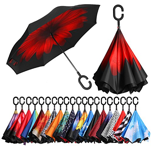Inverted Umbrellas Reverse Folding Umbrella Windproof UV Protection Big Straight Umbrella for Car Rain Outdoor with C-Shaped Handle Red Flower ()
