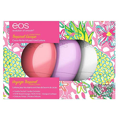 EOS Hand Lotion   Tropical Escape Collection   Limited Edition   3 Pack   Beach Mango, Delicate Petals, and Vanilla OrchidNew Spring 2019 (Best Hand Lotion 2019)