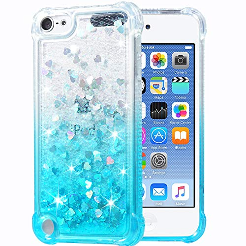(Flocute iPod Touch 5 6 Case, iPod Touch 5 6 Glitter Case Gradient Series Bling Sparkle Floating Liquid Soft TPU Cushion Luxury Fashion Girls Women Cute Case for iPod Touch 5 6 7 (Gradient Teal))