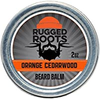 Beard Balm for Men by Rugged Roots - Hair Nourishing Beard Balm with Orange Cedarwood Scent for Healthy Shiny Beards -...