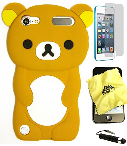 Bukit Cell 3D Cartoon Bundle 4 Items: Brown Bear Silicone Cartoon Cute Lovely Fun Case for Ipod Touch 6th /5th Generation + Screen Protector +Bukit Cell Metallic Stylus Touch Pen, Cleaning cloth
