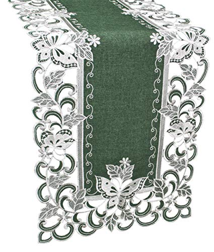 Linens, Art and Things Embroidered White Butterfly Green Linen Table Runner or Dresser Scarf 16 x 72 Inch