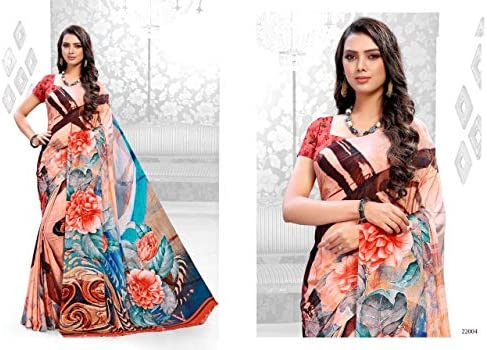Designer Multi Color Digital Print Fancy Indian Bollywood Light Weight Saree Occasions Family Function Casual Office Wear Party Fastive Women Sari Blouse 9406