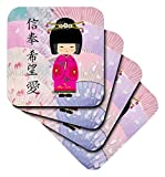 3dRose Geisha Faith Hope Love - Soft Coasters, Set of 4 (cst_20553_1)