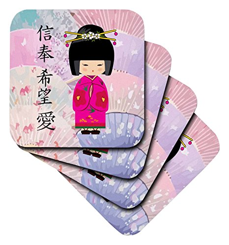 3dRose Geisha Faith Hope Love - Soft Coasters, Set of 4 (cst_20553_1) by 3dRose