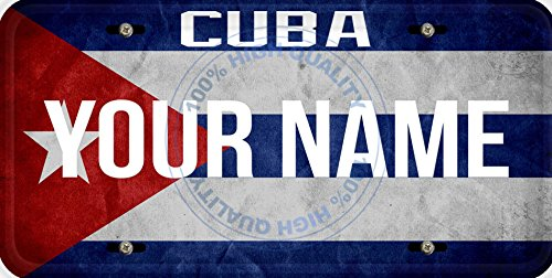 (Personalized Custom Name License Cuba Flag Car Vehicle License Plate Auto Tag)