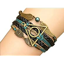 Joyplancraft Multistrand Bracelet Owl Wings Bracelet, Teal Bead Bracelet, Gift for Girl Friend or Boyfriend