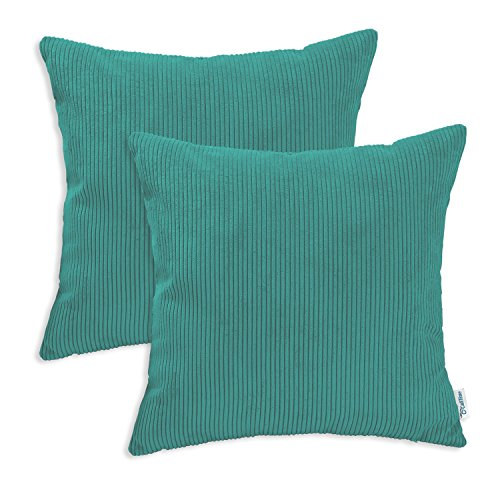 (CaliTime Pack of 2 Cozy Throw Pillow Covers Cases for Couch Bed Sofa Ultra Soft Corduroy Striped Both Sides 16 X 16 Inches Teal)