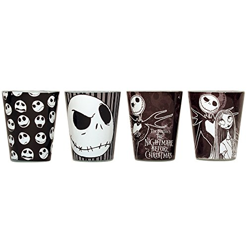 - Silver Buffalo NB031SG1 Disney Nightmare Before Christmas Colored Mini Glass Set, 4-Pack