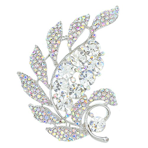 SP Sophia Collection Wind Flare Clustered Crystal Cubic Zirconia Paved Leaf Fashion Decorative Brooch in Clear Silver - Flare Crystal