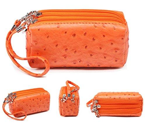 3 Layers Zipper PU Leather Clutch Purse Ostrich Cellphone Handbag Small Wristlet Bag Pouch for iPhone 6, 6s, Keys (Orange)