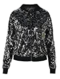 PrettyGuide Women's Sequin Top Lightweight Cardigan Bomber Jacket Outwear L/8-10 Black Silver