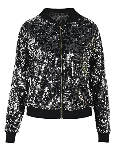 PrettyGuide Women's Sport Coat Sequin Deco Long Sleeve Bomber Jacket S/0-2 Black Silver