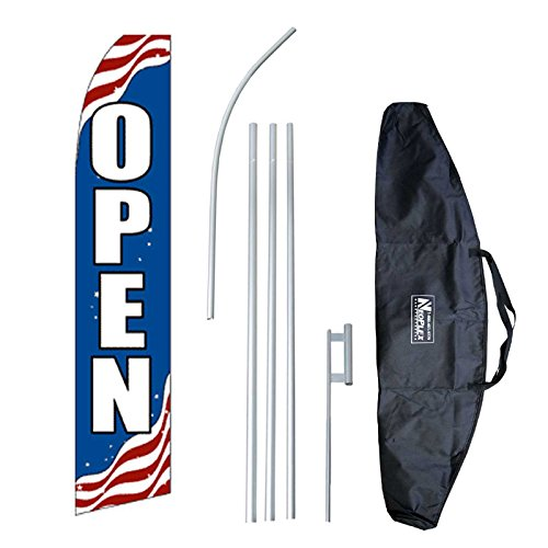 """New """"Patriotic Open"""" 12-foot Swooper Feather Flag and Case Complete Set...includes 12-foot Flag, 15-foot Pole, Ground Spike, and Carrying/Storage Case"""