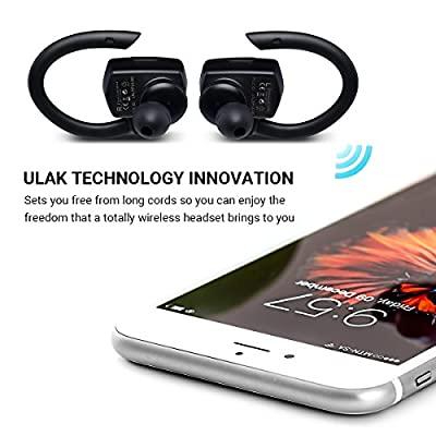 Bluetooth Headphones, ULAK True Wireless Stereo Earbuds Noise Cancelling Sweatproof Cordless Headsets for Sports,Running and Travel with True HD Sound,APT-X Enhanced Connectivity Built-in Microphone