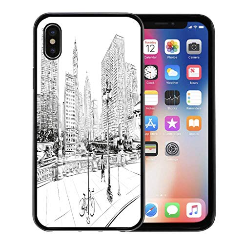 Semtomn Phone Case for Apple iPhone Xs case,Landmarks Chicago City Street Sketch Architecture Comic Town Abstract for iPhone X Case,Rubber Border Protective Case,Black