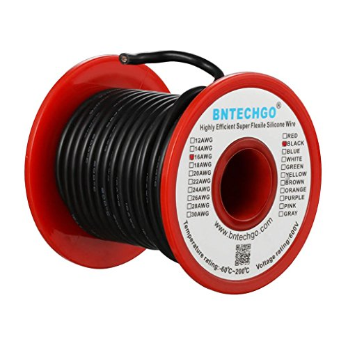 BNTECHGO 16 Gauge Silicone Wire Spool Black 50 feet Ultra Flexible High Temp 200 deg C 600V 16 AWG Silicone Rubber Wire 252 Strands of Tinned Copper Wire Stranded Wire for Model Battery Low Impedance