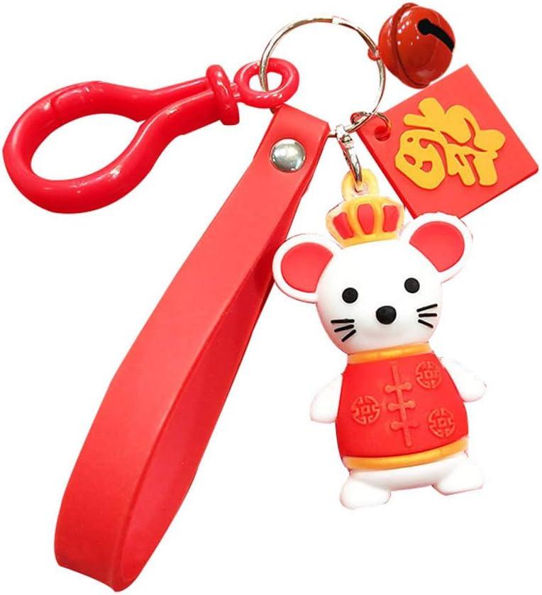 perlo33ER Regalo De Año De Rata Lucky Mouse Plush Ball Bell Bag Colgante Llavero Llavero Titular Llavero Encanto Pequeño Y Práctico CampanaNone