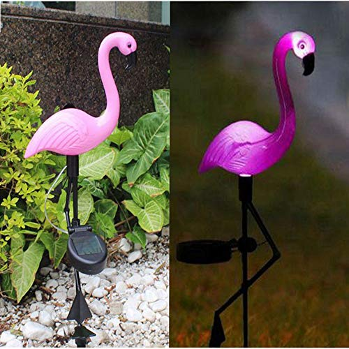 FEIAA Flamingo Yard Stakes Garden Stake Flamingo Solar Lights Outdoor Décor Lawn Plant Decoration LED Decal Pink Stuff Ornaments Gifts