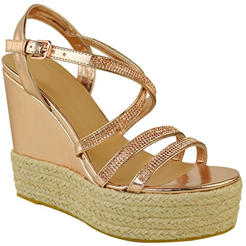Ladies Womens Diamante Wedge Gold Heels Strappy Sandals Metallic Size Shoes Rose Fashion Thirsty High UK Platforms EWnS45XT