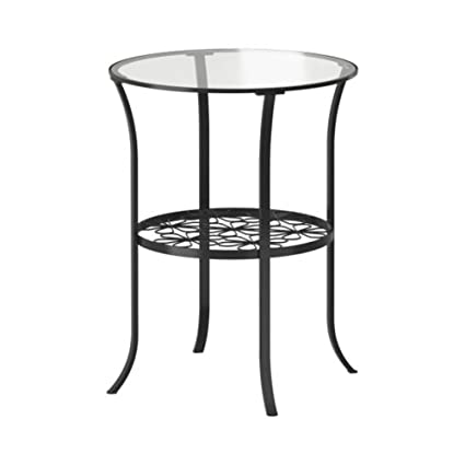 Ikea Home Bedroom Side Table Black Clear Glass