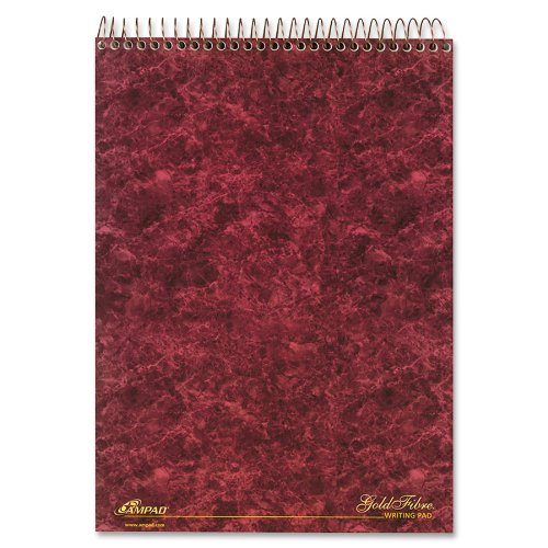 Ampad 20-812R Gold Fibre Designer, Wirebound Legal Pad, Size 8-1/2x11-3/4, Assorted Covers, Legal Ruling, 70 Sheets Per Notebook