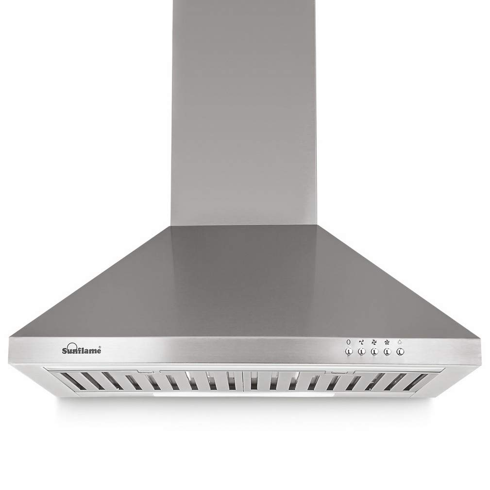Sunflame 60cm 850 m3/hr Chimney (CH Fusion 60 SS BF, 2 Baffle Filters, Steel/Grey)