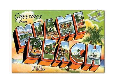 (Greetings from Miami Beach Florida Fridge Magnet)