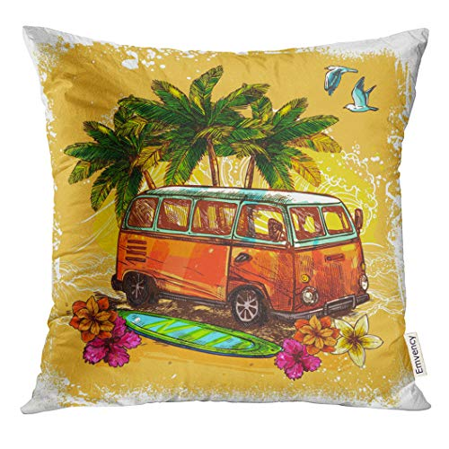 Emvency Throw Pillow Cover Van Surf Hippy Style Vintage Old Bus with Surfboard Flowers and Palm Sketch Color Rasta Decorative Pillow Case Home Decor Square 20x20 Inches Pillowcase (Van Hippy)