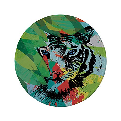 Non-Slip Rubber Round Mouse Pad,Tiger,Abstract Drawing of a Bengal Tiger Under Leaves on Lively Colored Background Predator Decorative,Multicolor,11.8