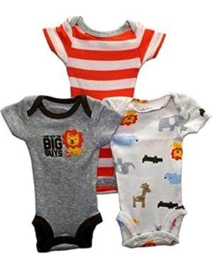 Lion 3 Pack Newborn Baby Boys Bodysuits (3-6 Months)