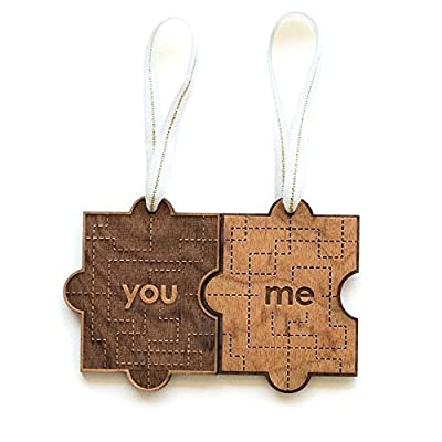 You & Me Puzzle Piece Laser Cut Wood Ornament (Christmas/Holiday / Anniversary/Newlyweds)