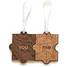 You & Me Puzzle Piece Laser Cut Wood Ornament (Christmas/Holiday/Love/Anniversary/Couples)