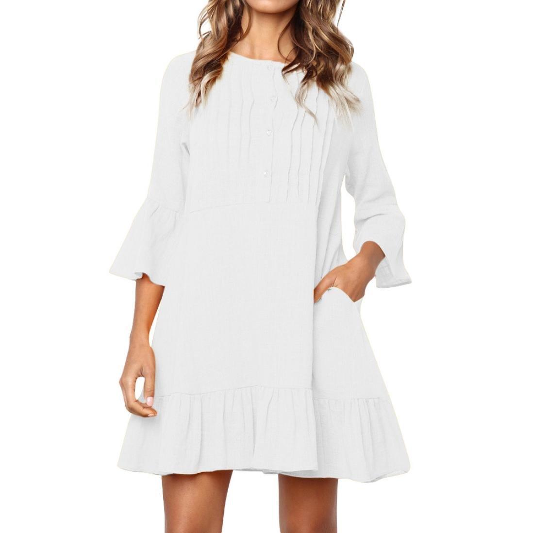 Spbamboo Women Button O Neck Boho Three Quarter Casual Mini Beachwear Dress
