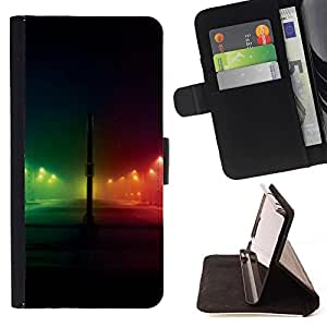 ForSamsung Galaxy S3 MINI i8190 (NOT S3) Case , Rainbow Night City Negro- la tarjeta de Crédito Slots PU Funda de cuero Monedero caso cubierta de piel