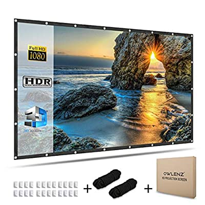 OWLENZ 120 inch PVC Projection Screen 16:9 HD Foldable Portable Projector Movies Screen for Home Theater Outdoor Indoor …