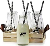 Circleware Dairy Antique Glass Milk Drink Bottles with Strong Reusable Plastic Straws and Wooden Tray, 10 Ounce, 13 Piece Set, 6 Glass Bottles, 6 Straws 1 Wooden Tray, Limited Edition Glassware