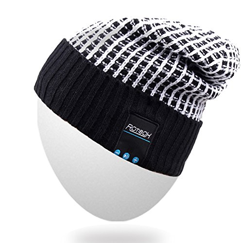Rotibox Wireless Bluetooth Beanie Knit Hat Music Cap with Stereo Headphone Headset Earphone Speaker Hands-Free Phone Call for Gym Outdoor Sports Skiing Running Skating Walking, Black