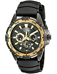 Casio Mens MTD1069B-1A1 Round Analog Black and Gold Dial and Black Resin Strap Watch