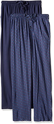 Fruit of the Loom Men's Extended Sizes Jersey Knit Sleep Pant, Navy Print, Medium