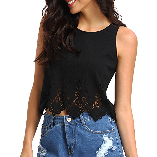 Hengshikeji Women Hollow Out Tank Tops Casual Sleeveless Blouse Cami Shirts Vest Teen Girls Tunic