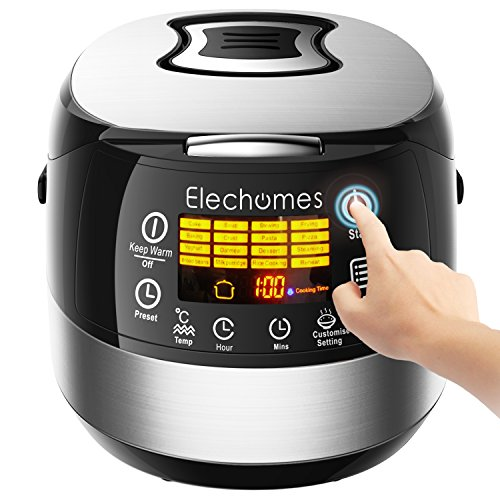 LED Touch Control Rice Cooker - Elechomes CR502 10 Cups(Uncooked) Rice Cooker with 16 Functions, Multi-cooker (Rice Cooker, Steamer, Warmer, Etc.)