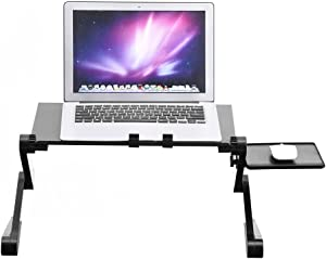 Folding Laptop Table, Portable Computer Cozy Desk Lap Writing Stand Tablet Holder Notebook Riser Stand Up/Sitting Breakfast Tray Height Adjustable with Cooling Fan and Mouse Pad for Bed Sofa Couch