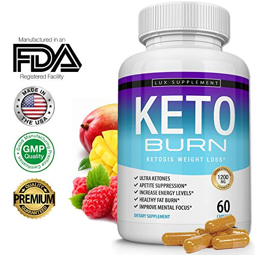 Lux Supplement Keto Burn Pills Ketosis Weight Loss- 1200 Mg Ultra Advanced Natural Ketogenic Fat Burner Using Ketone Diet, Boost Energy Focus & Metabolism Appetite Suppressant, Men Women 60 Capsules (Best Way To Detox Your Body From Fat)