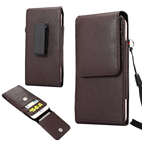 Faux Leather Vertical Case Holster Belt Clip Pouch for iPhone 8 Plus / iPhone X / Samsung Galaxy Note 8 / S8 Active / Motorola Moto G5s Plus / E4 Plus / Z2 Play / LG V30 / OnePlus 5 (Brown) (Blue Leather Case Belt Clip)