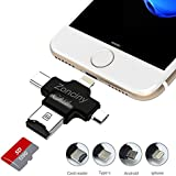 Micro SD Card Reader USB Adapter – Zonciny 4 in 1 USB Micro SD &TF Card Adapter for iPhone iPad Mac Android Type C and PC Support 8 GB to 256 GB